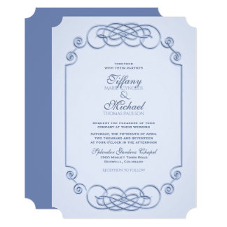 Blue Filagree Wedding Invitation