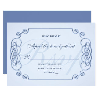 Blue Filagree Wedding Invitation RSVP