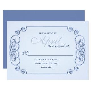 Blue Filagree Wedding Invitation RSVP