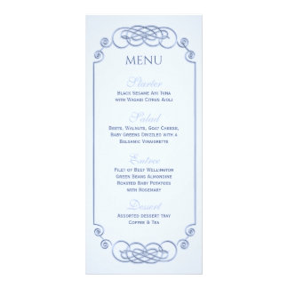 Blue Filagree Wedding Menu Rack Card Design