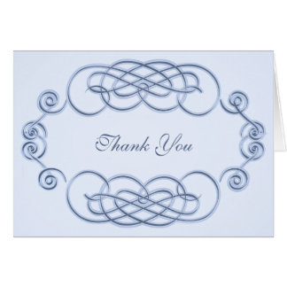 Blue Filigree  A2 Thank You Note Card