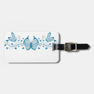 Blue Filigree Butterflies Luggage Tag