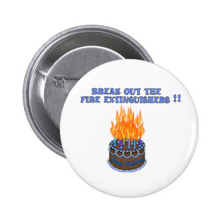 Blue Fire Extinguishers Birthday Cake Pinback Button