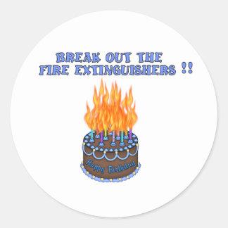 Blue Fire Extinguishers Birthday Cake Round Sticker