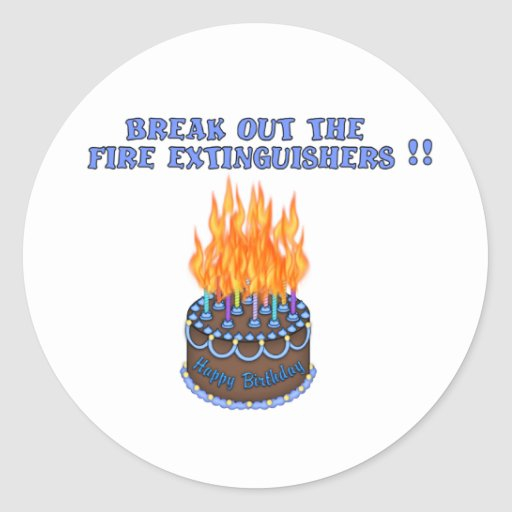 Blue Fire Extinguishers Birthday Cake Stickers