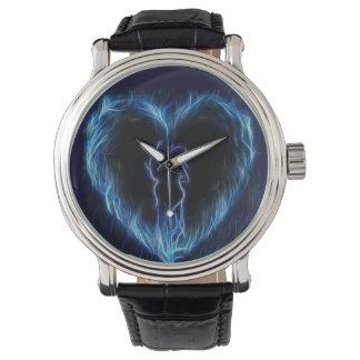 Blue Fire Heart Watch