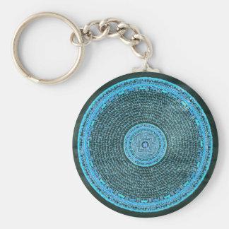 Blue Fire Tibetan Mandala Art (Turquoise & Black) Keychain