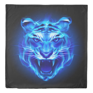 Blue Fire Tiger Face (2 sides) Queen Duvet Cover