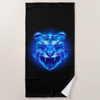 Blue Fire Tiger Face Beach Towel