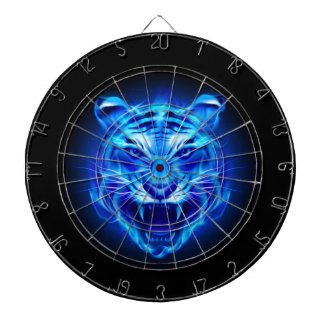 Blue Fire Tiger Face Dart Board