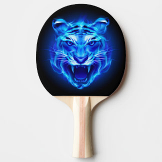 Blue Fire Tiger Face Ping Pong Paddle