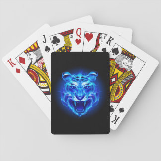 Blue Fire Tiger Face Playing Cards