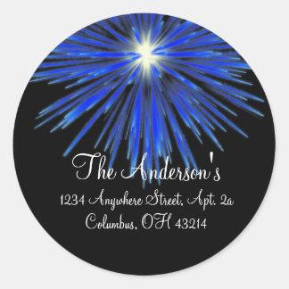 Blue Firework Return Address Labels - Round Round Stickers