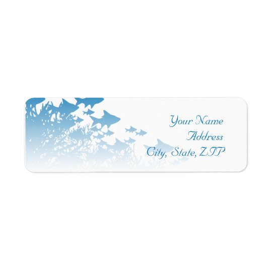 Blue Fish and Coral Return Address Label