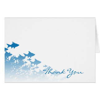 Blue Fish and Coral Thank You Card
