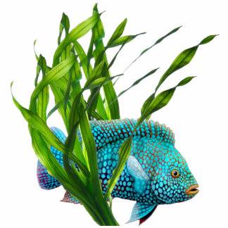 Blue Fish in Seaweed Keychain Photo Sculpture Keychain