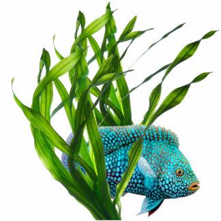 Blue Fish in Seaweed Sculpture Standing Photo Sculpture