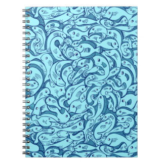 Blue Fish in the Sea Spiral Notebook