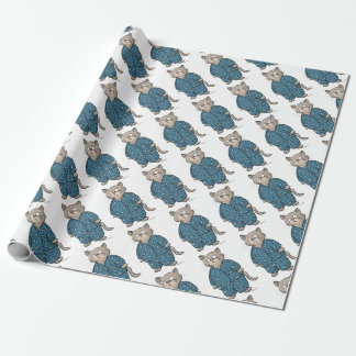 Blue Fish Pajamas Wrapping Paper