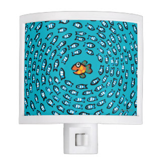 Blue Fish School Pattern with Small Orange Fish Nite Lights