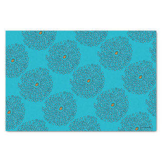 Blue Fish School Pattern with Small Orange Fish Tissue Paper