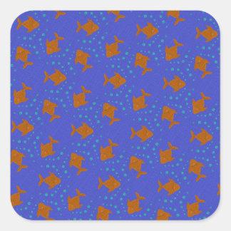 Blue fish square sticker