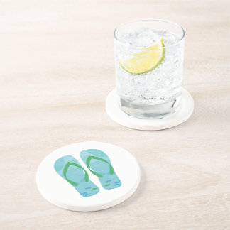 Blue Fish Summer Beach Flip Flops Coaster