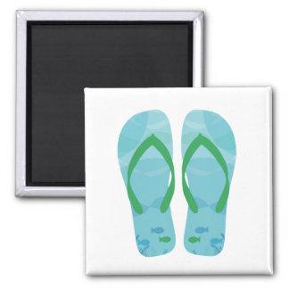 Blue Fish Summer Beach Flip Flops Magnet