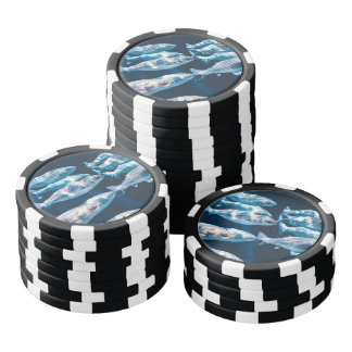 Blue fish swim in the water poker chips