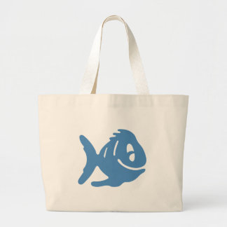 Blue fish tales large tote bag