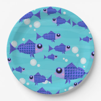 Blue Fishes in the Ocean 9 Inch Paper Plate