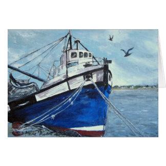 Blue Fishing Boat Card