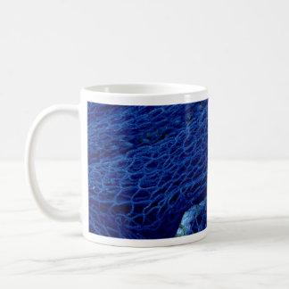 Blue fishing net coffee mug