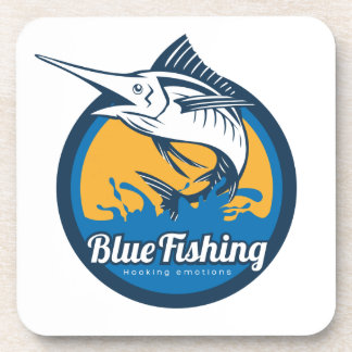 Blue Fishing Shop Drink Coaster