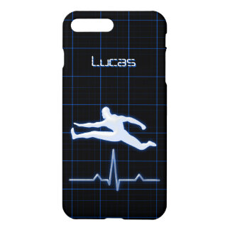 Blue Fitness Instructor Coach Man Jumping Glossy iPhone 7 Plus Case