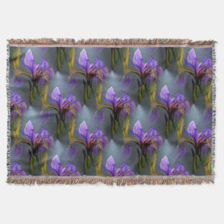 Blue Flag Iris Flowers Nature Art Pattern Throw