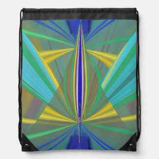 Blue Flame 2 Abstract in Blues Drawstring Bag