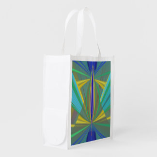 Blue Flame 2 Abstract in Blues Reusable Grocery Bag
