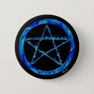 Blue Flame pentacle 2 Inch Round Button