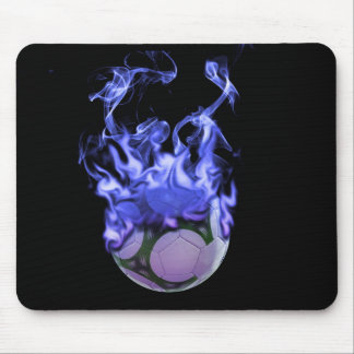 Blue flames soccer ball and smoke mouse pad