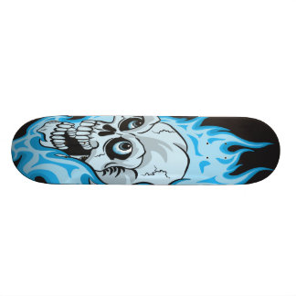 Blue Flaming Skull Skateboard