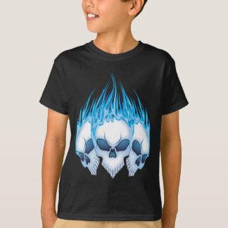 Blue Flaming Skulls T-Shirt
