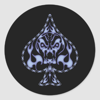 Blue Flaming Spade Skull Round Sticker
