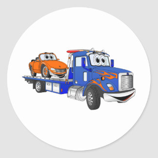 Blue Flatbed Tow Truck Classic Round Sticker