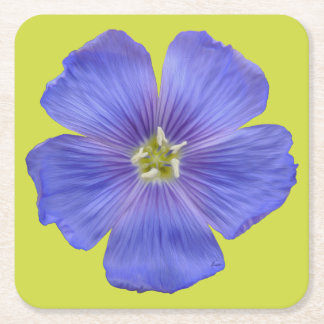 Blue Flax #1 Square Paper Coaster