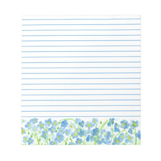Blue Flax Watercolor Flowers Lined Notepad