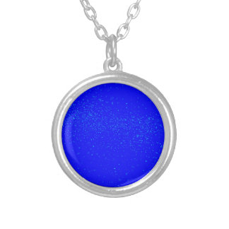 Blue Fleck Background Silver Plated Necklace