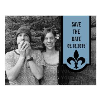 Blue Fleur De Lis Banner Save the Date Postcard