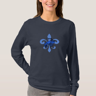 Blue Fleur De Lis, Blue Tiles Crawfish T-Shirt