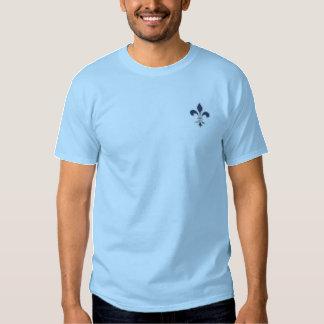 Blue Fleur de Lis Embroidered Shirt
